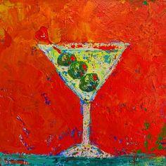 Art, Painting, Acrylic Still Life, Vodke Martini painting, Home Decor, original painting, bar decor, modern painting, affordable art