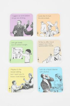 #UrbanOutfitters          #Apparment #Dinnerware    #measurements #folks #clever #overview #coasters #rounded #guests #corners #sassy #classy #cardboard #coaster #construction #lightweight #set               Someecards Coaster - Set Of 6                       Overview:  * Keep it classy n' sassy with this set of coasters from the folks at Someecards  * Each topped with a clever text-graphic that'll have your guests cracking up  * Lightweight cardboard construction  * Rounded corners  * Set…