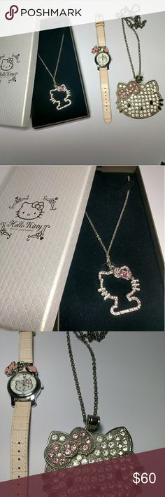 Hello Kitty accessory's Hello Kitty necklace, watch and chain for women. All three for sale. Hello Kitty Jewelry Necklaces
