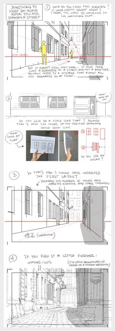 How to draw a street - by Thomas Romain (one of the few foreigners working in the anime industry in Japan) Perspective 1 Point, How To Draw Perspective, Doodle Drawing, Manga Drawing, Drawing Sketches, Comic Drawing, Drawing Tips, Painting & Drawing, Sketching