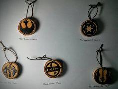 Handmade Star Wars emblem Christmas ornaments. Set of 5 $40 #starwars #pyrography #christmas #ornaments #5280artsandcrafts #handmade