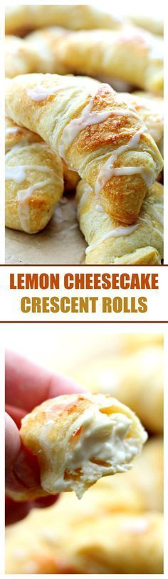 Lemon Cheesecake Crescent Rolls – Super easy and incredibly soft Crescent Rolls filled with a sweet and delicious lemon and cream cheese mixture. Perfect for Easter morning! (recipe for cream puffs crescent rolls) Lemon Desserts, Lemon Recipes, Just Desserts, Sweet Recipes, Delicious Desserts, Yummy Food, Instant Recipes, Quick Recipes, Fall Recipes