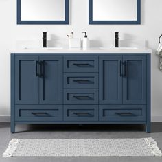 Lourdes Bath Vanity by OVE White Cultured Stone Countertop Solid Wood Cabinet Construction Available in White or Gray-Blue Soft-close Door Hinges and Drawer Glides 60 Inch Vanity, 72 Vanity, Blue Bathroom Vanity, Blue Vanity, Double Sink Bathroom, Bathroom Kids, Vanity Sink, Bath Vanities, Small Double Sink Vanity
