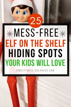25 Insanely Easy Elf on the Shelf Hiding Spots Easy Elf on the Shelf ideas for kids. The best places to hide your elf on the shelf that are completely mess free. Funny elf on the shelf hiding spots that don't leave a huge mess. Family Traditions, Christmas Traditions, Der Elf, Elf Auf Dem Regal, Hiding Spots, Hiding Places, Christmas Elf, Family Christmas, Christmas Ideas For Kids