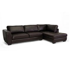 Baxton Studio Orland Brown Bonded Leather Modern Sectional Sofa Set with Right Facing Chaise - Overstock™ Shopping