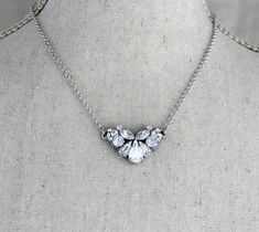 SILVER NECKLACE /& EARRING SET IN CLEAR **UK SELLER** WEDDING BRIDESMAID GIFT