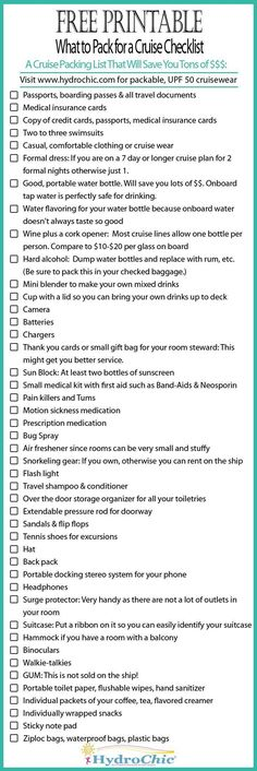 Printable checklist of what to pack for a cruise that will save you a lot of money. Printable checklist of what to pack for a cruise that will save you a lot of money. Honeymoon Packing, Packing List For Cruise, Cruise Travel, Cruise Vacation, Disney Cruise, Vacation Trips, Packing Lists, Honeymoon Cruises, Packing Ideas