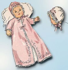 1940s Vintage Simplicity Sewing Pattern 1950 Embroidered Baby Layette and Dress #Simplicity #Layette
