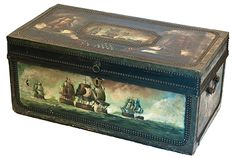 """China Trade Camphorwood Chest    A paint decorated China Trade leather camphorwood chest, depicting a naval battle scene, in mint condition. Early to mid nineteenth century. H. 13"""", W. 30"""", D. 16""""."""