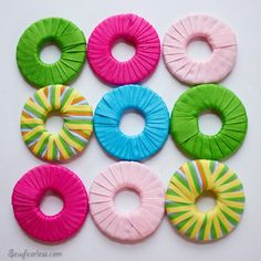 DIY Pattern Weights - Ribbon Wrapped Washers - Sew Fearless, plus washer decorating roundup Sewing Hacks, Sewing Crafts, Sewing Projects, Diy Crafts, Sewing Tips, Diy Projects, Sewing Box, Sewing Tutorials, Sewing Patterns