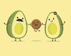 Avocado Family Art Print by LilBurritos on Etsy💕 Avocado Baby, Cute Avocado, Cute Cartoon Wallpapers, Cute Wallpaper Backgrounds, Kawaii Drawings, Cute Drawings, Family Drawing, Family Print, Cute Family