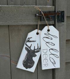 "Large, wooden ""hello deer"" front door sign.  Large, rustic, antiqued, white…"