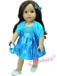 Turquoise Satin Dress, Shawl, Purse & Hair Bow