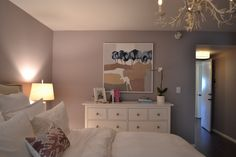 Elephant Gray /// Chic for Cheap: Julie Chang's Master Bedroom from Hillary Thomas