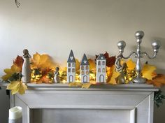 Autumn decoration on the mantle piece using Autumn leaves