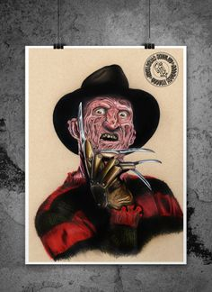 Original Freddy Krueger Illustration by adbettleyart on Etsy Horror, Comic Poster, Scary Monsters, Freddy Krueger, Hand Illustration, Fine Art Paper, Giclee Print, How To Draw Hands, Masks