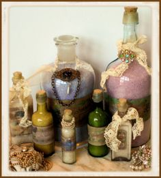 Decorated Apothecary Bottles