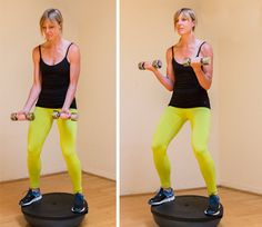 Total-body bosu ball workout. The bosu ball is one of the best items to have on hand for working out.