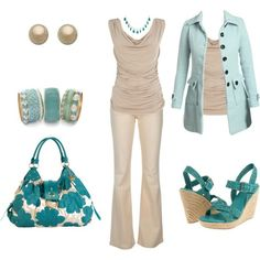 TO complete: tan dress top, light blue trench coat, turquoise pumps