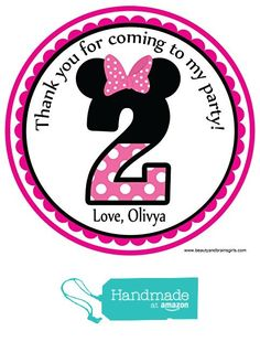 Minnie Mouse 2nd Birthday Themed Party Custom Personalized Party Favor Birthday Stickers -Toppers 24 Stickers Popular Size 2.5 Inches. from Custom Party Favors, Handmade Craft , and Educational Products http://www.amazon.com/dp/B01FAVXI0M/ref=hnd_sw_r_pi_dp_VpFlxb0N7Z2E9 #handmadeatamazon