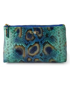 Blue Python-Print Cosmetic Case by Graphic Image at Bergdorf Goodman.