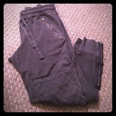 Gap sweats Three quarter length grey sweats from GAP Small size two pockets in the back zipper pockets on each size design pad on knee tie on waist  very comfortable good condition runs big GAP Pants Track Pants & Joggers