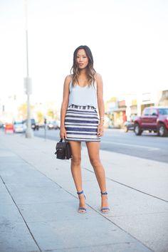 Eight Sixty blue cami top + Tinley Road striped mini skirt + Tibi Amber blue sandal heels