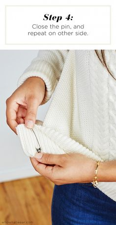 Step 4: Close the pin, and repeat on the other side // Short Girl Sweater Hack