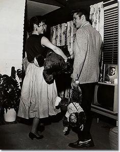 Elvis Presley and Barbara Hearn at Elvis' 1034 Audubon Drive House : June 19, 1956.