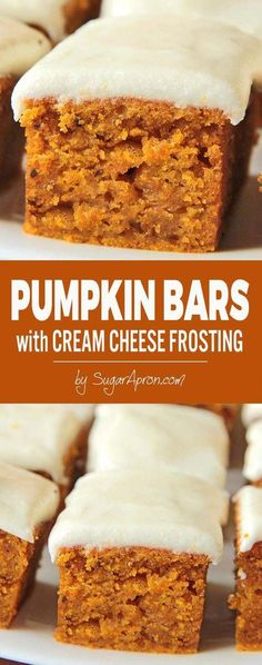 perfect fall dessert, delicious pumpkin bars with cream cheese frosting.A perfect fall dessert, delicious pumpkin bars with cream cheese frosting. Brownie Desserts, Mini Desserts, Holiday Desserts, Just Desserts, Autumn Desserts, Health Desserts, Easy Delicious Desserts, Delicious Food, Birthday Desserts