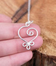 Celtic Heart, Pendant, CHARM ONLY, Sterling Silver, Wire Jewelry