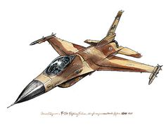 Whether you are an aircraft aficionado or a little boy with the coolest airplane themed bedroom, please check out this watercolor print based on the General Dynamics (now Lockheed Martin) F-16 Fighting Falcon is a single-engine multirole fighter aircraft originally developed by General Dynamics for the United States Air Force (USAF).  This is a print of the original watercolor on an acid-free, 100% cotton, single-side coated paper showing a natural white finish with a slightly structured…