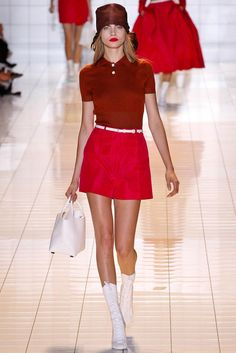 Cara Delevigne ROCHAS SS13 RED, BURGUNDY & WHITE Cute preppy style