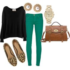 Great way to wear brightly colored denim. like leopard flats with green skinnies