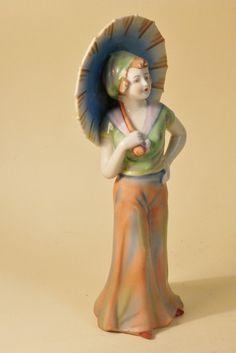 RARE Fasold Stauch German Art Deco Porcelain Lady Figurine Half Doll Related