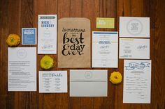 """In addition to the main invitation, Brooke created a """"Best Day Ever"""" rehearsal dinner kit with photobooth tips and a """"Please Call Anyone But The Bride"""" card with a list of phone numbers to make sure nobody bothered the bride on the wedding day. Genius!"""