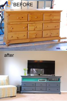 Easy dresser to entertainment center re purpose. Remove top three drawers, sliders, dividers. Have Home Depot cut shelf board to fit, nail in place. Sand, prime, paint done!