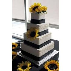 Sunflower Black & White Cake