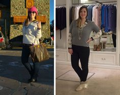 Look del dia. #ootd #lookoftheday izq. Jeans, sweater y botitas: H&M. Blusa animal print: Mon Lorie. Cartera: Louis Vuitton. Reloj: Swatch. Gafas: Infinit. Collar: Mes Lubies.  Der. Jeans: Jazmin Chebar. Blusa y sweater: Zara. Botitas: de feria en Miami. Collar: Mes Lubies.