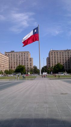 Chilean flag at Santiago, Chile Flags Of The World, Travel Around The World, Around The Worlds, Chi Chi, Chilean Flag, Trinidad Y Tobago, Asia City, National History, Country Maps