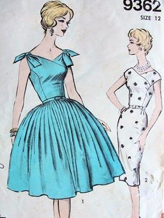 1960s LOVELY Full Skirt or SHEATH Cocktail Dress Pattern Advance 9362 Surplice Bodice Tie Shoulders Version Stunning Styles Bust 32 Vintage Sewing Pattern