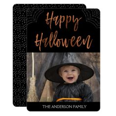 Happy Halloween Modern Halloween Photo Card - create your own gifts personalize cyo custom