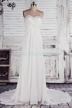 Robe De Mariée Robe De Mariée Déesse Avec Lacet Mousseline Polyester Plage Sans Manches Longueur Ras Du Sol