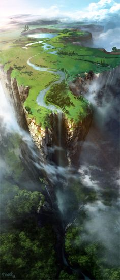 This landscape shows a mountain edge above the clouds with a beautiful waterfall as if it is a land above the clouds