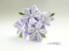 Tsumami Kanzashi boda flor pelo peine de por wonderfulkanzashi