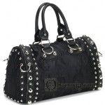 Black Skull Satin Gothic Handbag