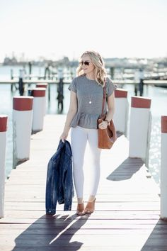 The Great Peplum Tee Shirt Outfit Spring Style / Red White & Denim