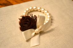 Grace: Ivory Pearl Corsage Bracelet with Ivory Ribbon and Brown Rose Flower - Little Girls or Adult on Etsy, $13.00