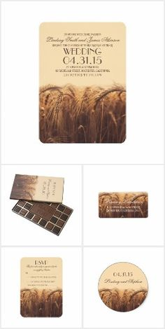 Golden Wheat Field Wedding Collection. This rustic country wedding set / stationary / suite may include: Wedding invitation cards, wedding envelopes, wedding RSVP Cards, wedding address labels, save the dates, wedding programs, wedding thank you cards, rehearsal dinners, stamps and more matching wedding products. Click image to see all available matching items.