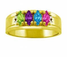 Jared - Family/Mother's Ring Marquise Birthstone Design in 10K/14K Gold